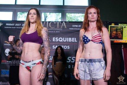 Megan anderson y Peggy Morgan en pesaje